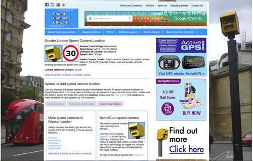 SpeedCamerasUK.com advertising example 4