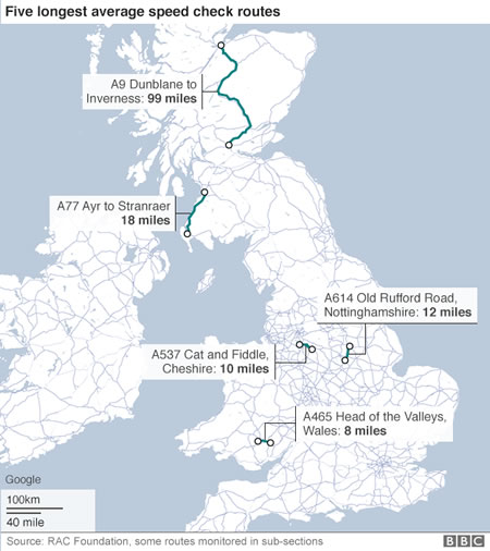 Map depicts the UK's five longest average speed check routes in 2016